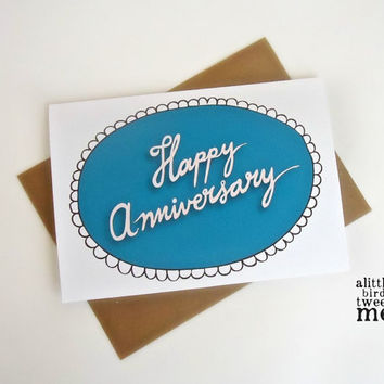 Happy Anniversary Card. Hand lettered Typography. 5 x 7""