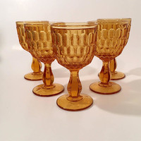 Amber Fenton Thumbprint Goblets, Set of 5 Vintage Amber Glass Goblets, Large Wine Glasses