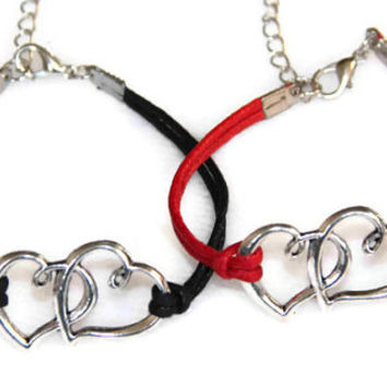 couple double heart bracelet, his and hers bracelet, hers and hers bracelet, best gift for couple/braidsmaid/best friends