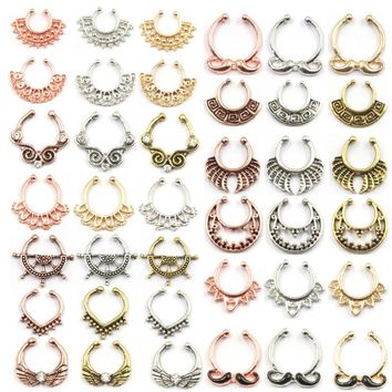 100pcs Mix New Summer style rose gold fake nose ring septum clip piercing silver indian nose rings and studs women body jewelry
