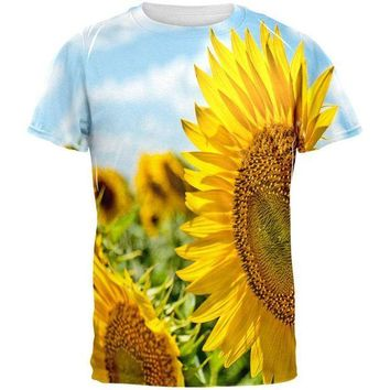ESBGQ9 Sunflower Fields All Over Mens T Shirt