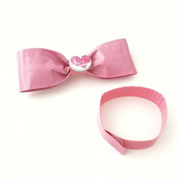 Pink Breast Cancer Awareness Ribbon ClipOn Bow Tie Set, Fun Bowties
