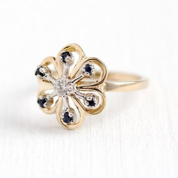 Diamond Sapphire Ring - Vintage 14k Rosy Yellow & White Gold Stick Pin Conversion Flower Statement - Retro Size 6 Blue Gem 60s Fine Jewelry