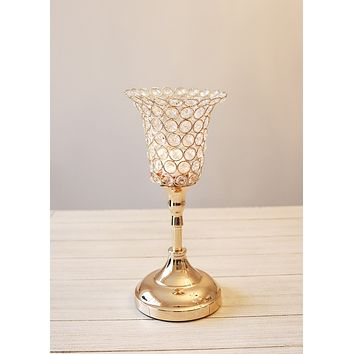 "Gold Faux Crystal Tulip Candle Holder - 13.5"" Tall x 5.5"" Wide"