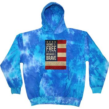 Buy Cool Shirts USA Hoodie Home of the Brave Tie Dye Hooded Sweatshirt