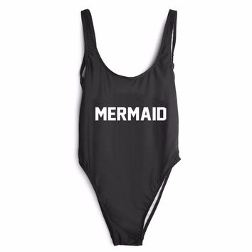 MERMAID Letter Print Bodysuit Women Sexy Jumpsuits and Rompers Club Bodysuits Strap Scoop Back Sleeveless Beach Camil
