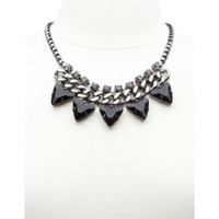 CHAIN & FACETED STONE STUDDED COLLAR NECKLACE