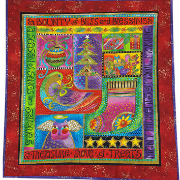 Wall Hanging Quilt in Laurel Burch Bright Colorful Cats