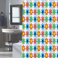 "Flower Power Extra Long Fabric Shower Curtain Size: 70"" x 84"""