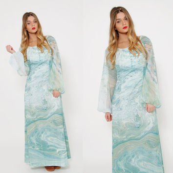 Vintage 70s PSYCHEDELIC Maxi Dress DON LUIS de Espana Dress Aqua Swirl Watercolor Print Dress Puff Sleeve Hippie Dress