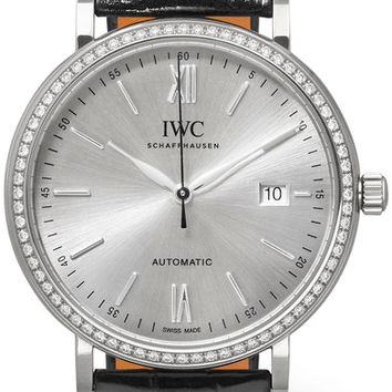 IWC SCHAFFHAUSEN - Portofino Automatic 40 alligator, 18-karat white gold and diamond watch