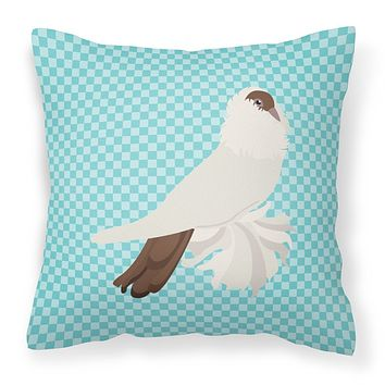 German Helmet Pigeon Blue Check Fabric Decorative Pillow BB8118PW1414