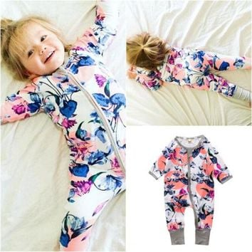 Cute Floral Romper Autumn Newborn Infant Kids Baby Boy Girl long sleeve Romper Jumpsuit Cotton Outfit Clothes 2016 NEW Style