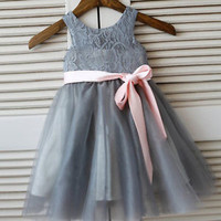 Gray Flower Girl Dress Ribbon Sash Baby Girl Dress Tutu Dress 2T 3T 4T 5T 6T 7T