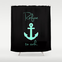 Refuse to sink Tiffany Anchor Shower Curtain by RexLambo