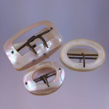 Victorian Edwardian Mother of Pearl Buckles Lot of 3 Sash Buckle Wedding Sash