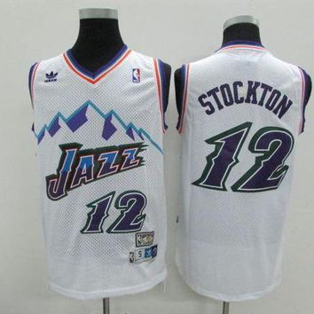 DCCK Utah Jazz #12 John Stockton White Retro Swingman NBA Jerseys