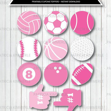 Printable Cupcake Toppers, Pink, Sports Theme, Birthday, Party Decorations, DIY, Team, All Star, Baby Shower, Coach INSTANT DOWNLOAD