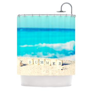 "Monika Strigel ""Summer at the Beach"" Blue Coastal Shower Curtain"