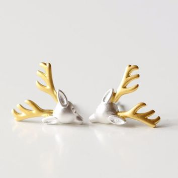 Silver-plated  earrings for deer antlers earrings lovely girls new statement jewelry christmas gift statement jewelry