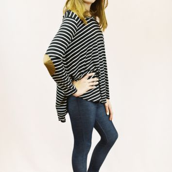 lil' belle striped patchwork top - black/white