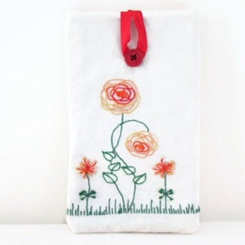 Flower embroidery tablet sleeve , 7 inch ereader cover suitable for Nexus7 kindle touch and paperwhite , Abstract floral hand embroidery