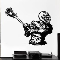 Wall Decal Sport American Lacrosse Player Game Ball Vinyl Stickers Unique Gift (ed298)