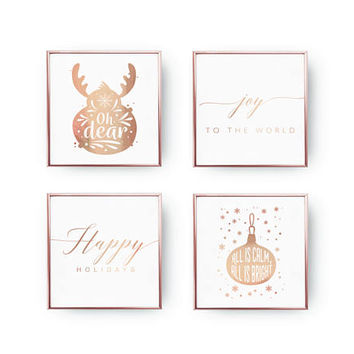 SET of 4 Prints, Oh Dear, All Is Calm, Happy Holidays, Real Gold Foil, Christmas Decor, Holiday Sign, Xmas Art, Christmas Print, Xmas Gift