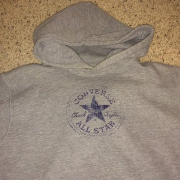 Sale!! Vintage Converse All Star gray hooded sweater chuck taylor pullover jacket size L Free US Shipping