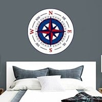 "NEW Compass Rose Wall Decals Travel Full Color Murals Nautical Vinyl Sticker Decal Bathroom Sea Ocean Bedroom Decor Art EN53 (22"" Tall x 22"" Wide)"