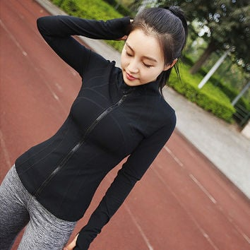 Women Slim Long Sleeve Sport Suit Fitness Professional Sportswear Stretch Exercise Yoga  Outerwear Jacket Top _ 6892