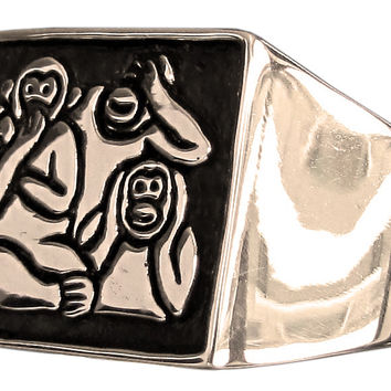 Three Monkeys Ring Mizaru Kikazaru Iwazaru Speak See Hear No Evil in Bronze