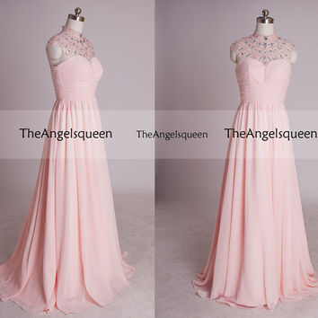 Luxury Pink High Neck Beading See-through Tulle A-line Long Evening dress,Bridesmaid dresses,Prom dresses,prom dress,long prom dress