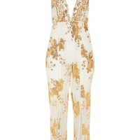 White Sequin Split Leg Beach Jumpsuit