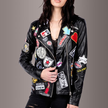 Rebel Rebel Black Moto Jacket with Patches