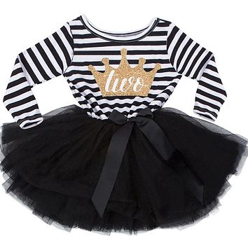Little Girl Stripe Tutu Dress For Baby Kids First Birthday Party Gift Dress Long Sleeve Crown Print Girls Infantil Vestido