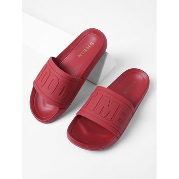 Open Toe Flat Slippers