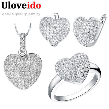 Fashion Jewelry Sets Heart Wedding Accessories 925 Sterling Silver White Earrings Micro Pave Cubic Zirconia 2016 Uloveido T004