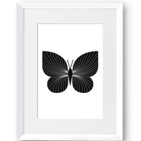 Butterfly, Nature, Minimal, Beauty, Line art, Home Decor, Mid Century Modern, Simplicity, Scandinavian Print, Printables, Digital Print
