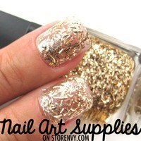 Gold Confetti - Shiny Gold Confetti Glitter Nail Polish Lacquer 16ml from nailartsupplies