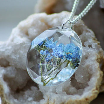 FORGET ME NOT Flower Necklace - Transparent Resin Jewelry With Real Flowers