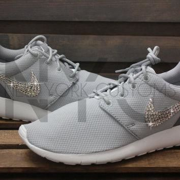 Blinged Nike Girls' Womens Roshe One Shoes Wolf Grey Customized With Swarovski Crystal