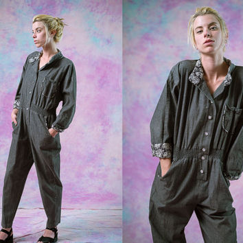 vtg 90's 80's gray cotton jumpsuit, grey denim floral romper 1990s 1980s, vintage Onesuit, tumblr soft grunge vaporwave aesthetic fashion