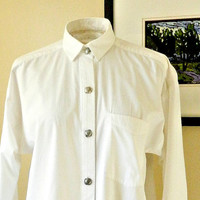 Vintage Womens Western Shirt, White Cotton Long Sleeve Shirt, 1980s Designer Shirt, Sterling Silver Buttons, Size M.