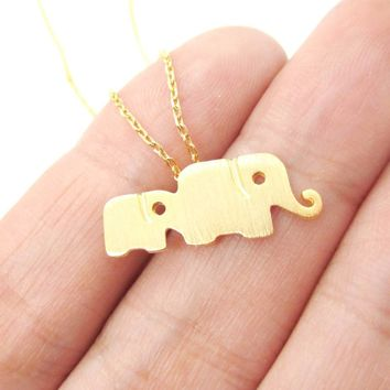 Elephant Family Animal Shaped Silhouette Pendant Necklace in Gold | DOTOLY