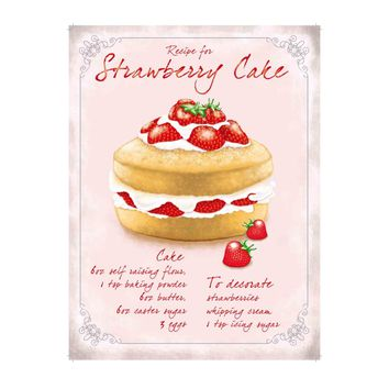 Strawberry Cake Recipe Metal Bakery Sign