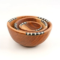 Thamani Wooden Bowls with Bone Inlay - Set of 3