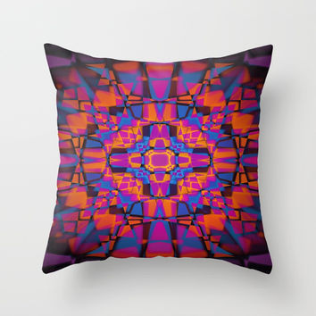 Kaleidoscope star pattern Throw Pillow by steveball