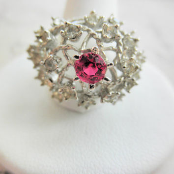 Vintage Sterling Silver Rhinestone and Ruby Look Stone Esposito Cocktail Ring