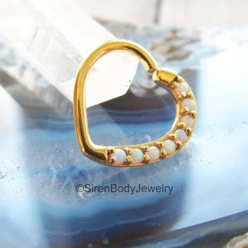 """Yellow gold daith heart piercing ring 16g white opals easy bend seam ring 3/8"""" right ear earring"""